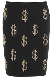 Dollar Sign chain-embellished crepe skirt