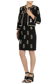 Moschino Dollar Sign chain-embellished crepe skirt