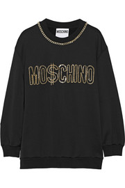 Chain-embellished jersey sweatshirt