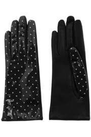Polka-dot coated twill and leather gloves