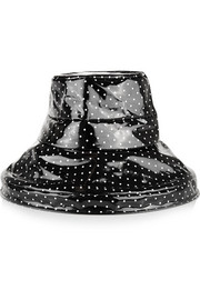Polka-dot coated cotton rain hat