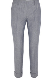 Burberry London Slub wool and silk-blend straight-leg pants