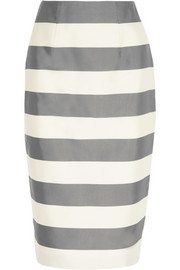 Striped silk and cotton-blend faille midi skirt