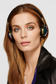 Frends Layla leather and iridescent metal headphones