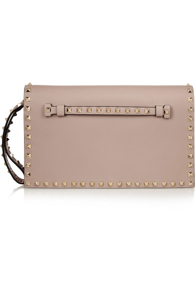 Valentino - The Rockstud Leather Clutch - Neutral