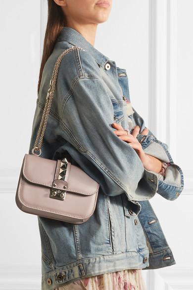 Valentino Lock kleine Schultertasche aus Leder