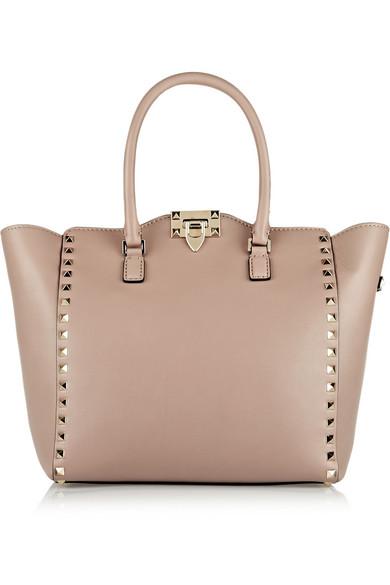 Valentino - The Rockstud Medium Leather Tote - Blush