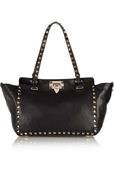 Valentino - The Rockstud Small Leather Trapeze Bag - Black