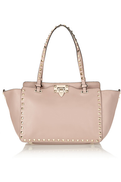 Valentino - The Rockstud Small Leather Trapeze Bag - Blush