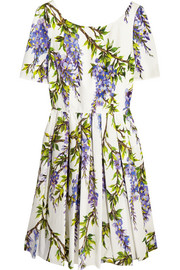 Floral-print cotton-poplin dress
