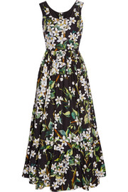 Floral-print cotton-poplin maxi dress