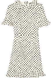 Ruffled polka-dot stretch-cotton dress
