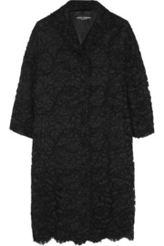 Guipure lace and silk-satin coat