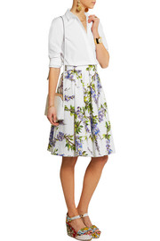 Floral-print cotton-poplin skirt