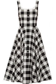 Gingham cotton-poplin dress