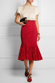 Ruffled cotton-blend lace skirt