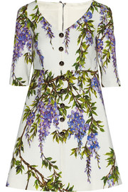 Dolce & Gabbana Floral-print textured stretch-cotton mini dress