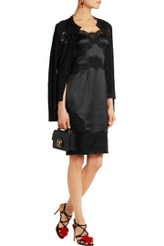 Dolce & Gabbana Lace-trimmed silk-blend satin dress