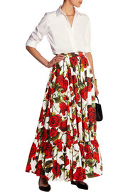 Floral-print cotton-poplin maxi skirt