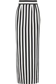 Striped crepe maxi skirt