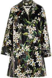 Floral-print coated cotton raincoat