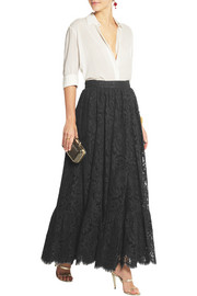 Dolce & Gabbana Cotton-blend lace maxi skirt