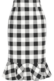 Gingham stretch-cotton skirt