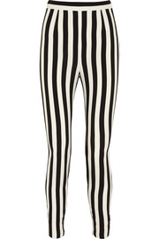 Striped crepe tapered pants