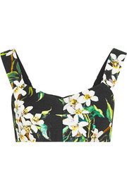 Cropped floral-print woven cotton top
