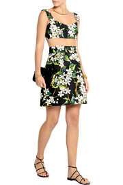 Dolce & Gabbana Cropped floral-print woven cotton top