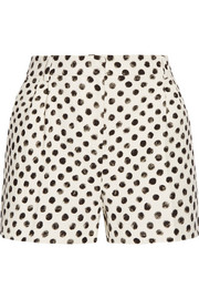 Polka-dot textured stretch-cotton shorts
