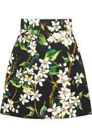 Floral-print woven cotton mini skirt