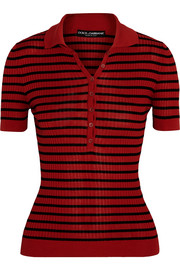 Dolce & Gabbana Striped silk polo shirt