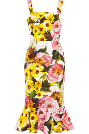 Floral-print textured stretch-cotton dress