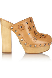 Michael Kors Prim appliquéd leather platform clogs