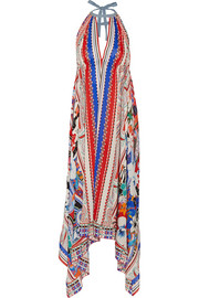 Bombay printed silk crepe de chine maxi dress