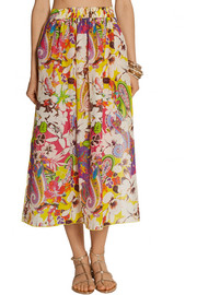 Etro Printed cotton and silk-blend voile maxi skirt