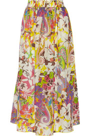 Printed cotton and silk-blend voile maxi skirt