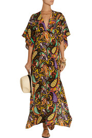 Printed silk-crepe coverup