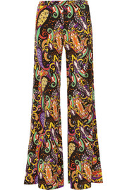 Printed silk-crepe wide-leg pants