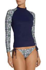 Tory Burch Laguna printed stretch rash guard