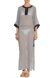 Tory Burch Clemente striped silk-chiffon kaftan