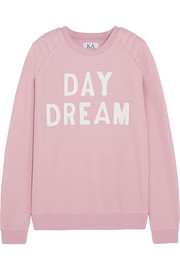 Zoe Karssen Day Dream leather-appliquéd cotton-blend jersey sweatshirt