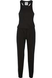 Leather-paneled jersey jumpsuit