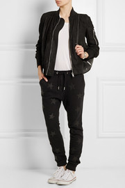 Zoe Karssen Leather-appliquéd cotton-jersey track pants