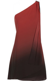 One-shoulder ombré georgette dress