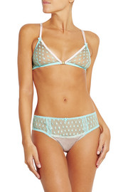Hummingbird stretch silk-trimmed polka-dot tulle soft-cup bra