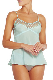 Mimi Holliday by Damaris Hummingbird polka-dot tulle-trimmed silk camisole