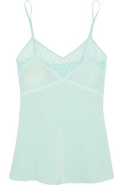 Hummingbird polka-dot tulle-trimmed silk camisole