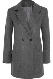 Crombie leather-trimmed wool-blend felt coat